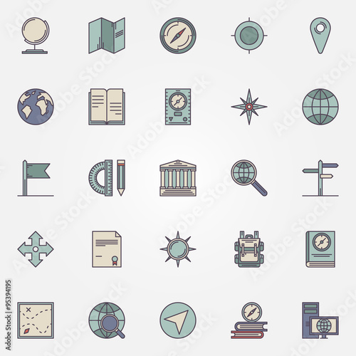 Fotografia  Geography flat icon set