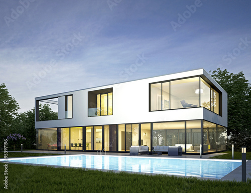 Moderne Villa Mit Pool 2 Am Abend Buy This Stock Illustration And