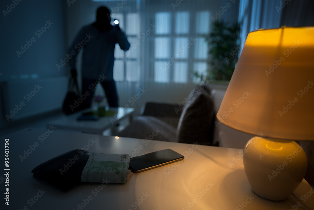 Fototapeta burglar in a house inhabited