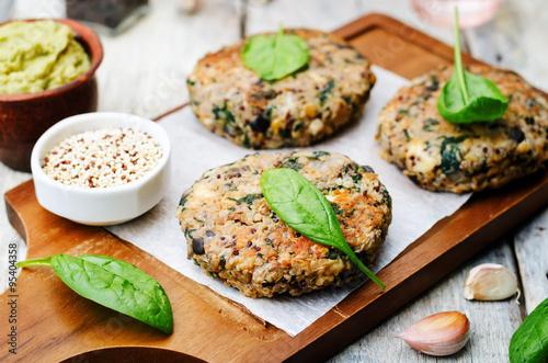 vegan quinoa eggplant spinach chickpeas Burger Fotobehang