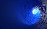 Fototapeta Do przedpokoju - Abstract Blue Noisy 3d Vortex