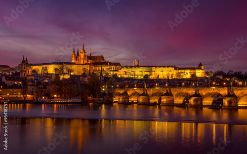 Poster Praag The city of Prague during sunset.