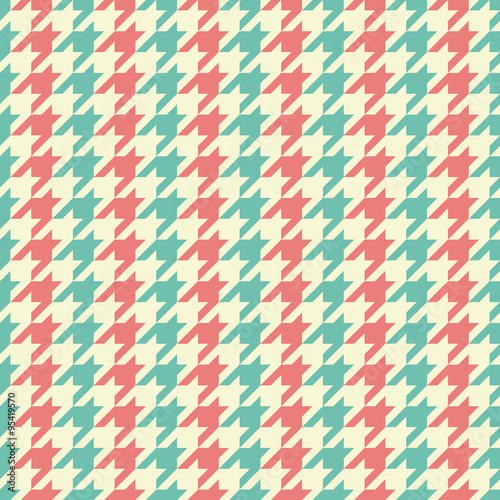 Photo  Seamless vintage blue beige and red classic fashion textile striped houndstooth