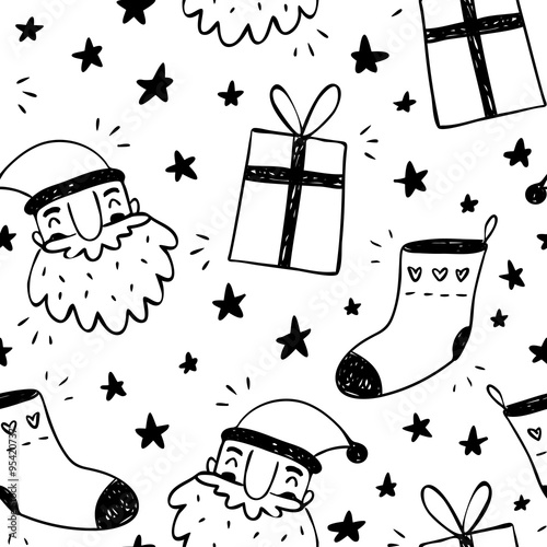 Cotton fabric Sketchy vector seamless pattern with Santa Claus, socks and gift