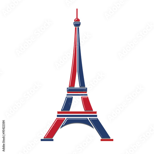 Fotografie, Obraz  Eiffel Tower Logo red and blue Paris. Icon design