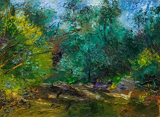 Beautiful Original Oil Painting with enchanting landscape, river reeds trees, impressionism style green light green and pink colors