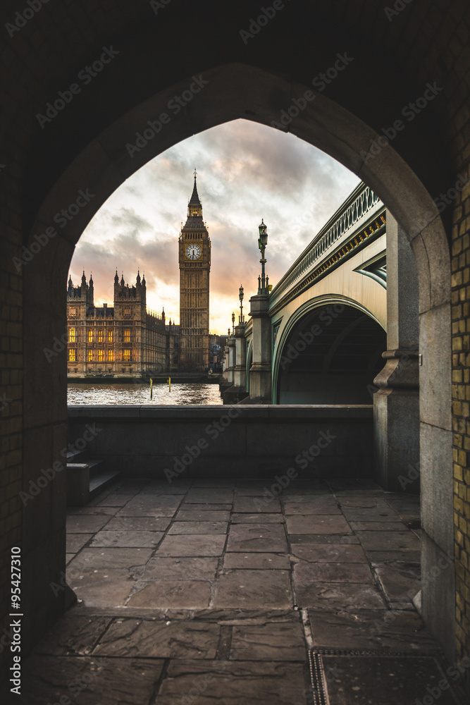 Westminster palace and Big Ben in London at sunset Canvas Print