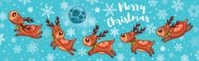 Merry Christmas Card With Cute Cartoon Deers