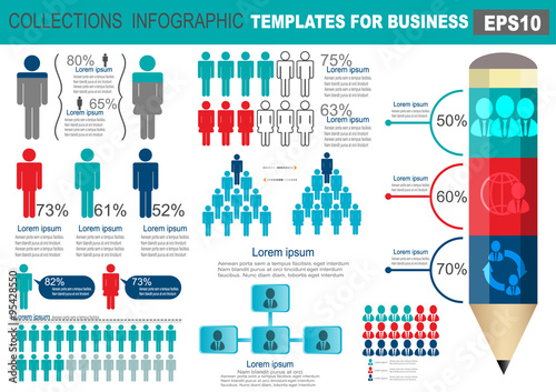 Fotografie, Tablou  Collection of infographic people  elements for