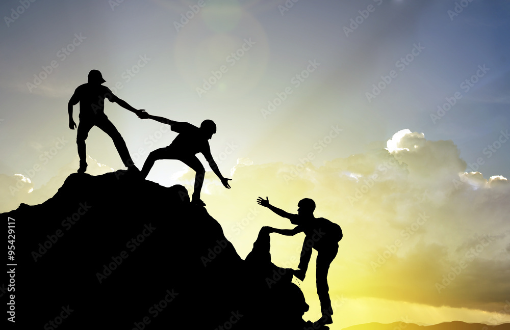 Fototapety, obrazy: climbing helping  team work , success concept