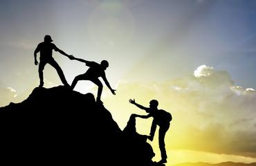 Fototapeta climbing helping team work , success concept