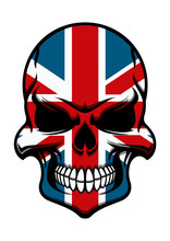 Skull Tattoo With United Kingdom Flag Pattern
