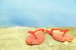 Bright flip-flops on stone, nature background