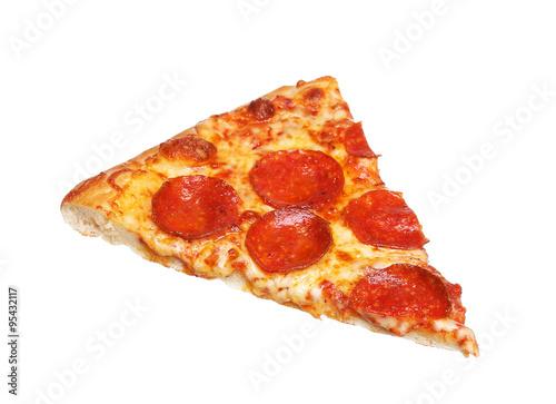 Fotomural Slice of fresh italian classic original Pepperoni Pizza isolated