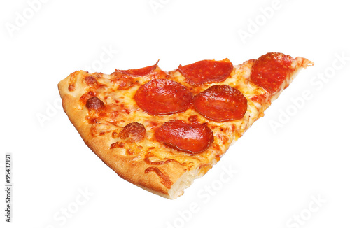 Fototapeta Slice of fresh italian classic original Pepperoni Pizza isolated