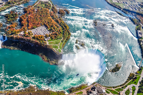 Stampa su Tela Niagara Falls aerial view Canada