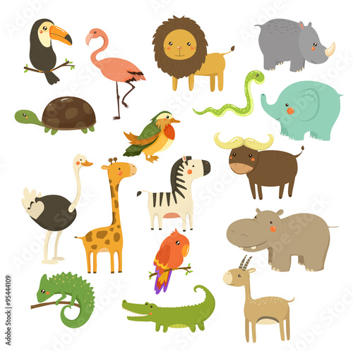 Poster de jardin Zoo Cute Woodland and Jungle Animals Vector Set
