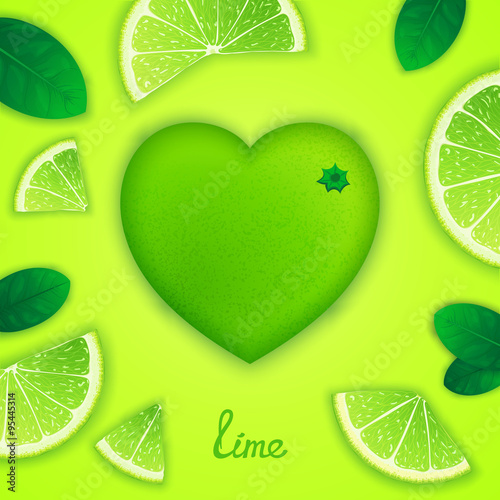 Photo  Photorealistic surround lime in the form of heart with slices around