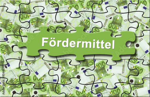 "Fotografía  Förderung 11 / Geldschein-Puzzle ""Fördermittel"""