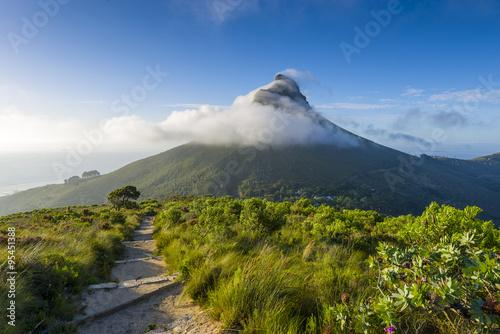 Obrazy na płótnie Canvas Tourist hikers up Cape Town, Table Mountain landscape, overlooking Lions Head peak