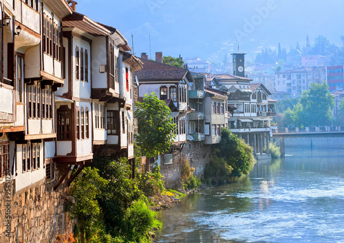 Poster Turquie Traditional ottoman houses in Amasya, Turkey