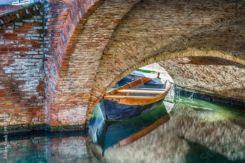 Canvas Prints Textures boats and bridges in Comacchio, the little Venice