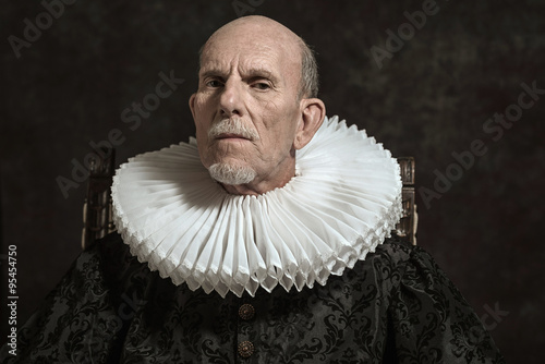Official portrait of historical governor from the golden age. Si Canvas Print