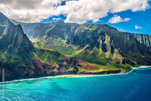 Aluminium Prints Coast View on Na Pali Coast on Kauai island on Hawaii