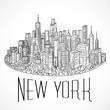 New York. Vintage hand drawn city landscape. Vector illustration in line art style