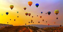 Hot Air Balloon Flying Mountain Valley Göreme National Park And The Rock Sites Of Cappadocia Turkey