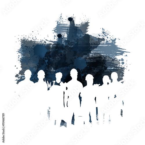 Fotografie, Obraz  Silhouetten von Handwerkern bei der Arbeit