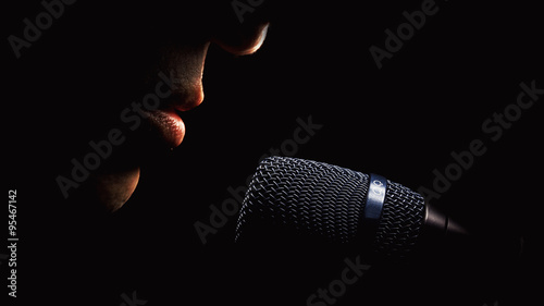 Stampa su Tela Microphone And Singer