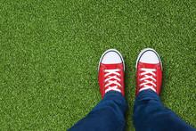 Green Grass Field With Feet We...