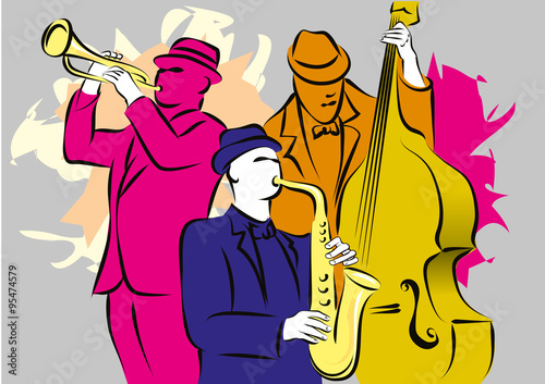 Fotografiet  Jazz trio playing musical composition