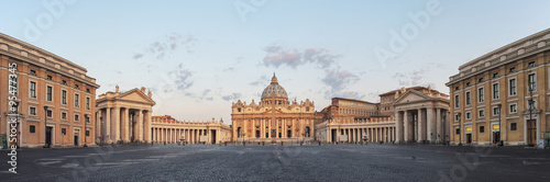 Sunrise over the St. Peters Basilica in Vatican City