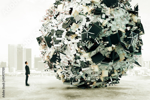 Cuadros en Lienzo Businessman is looking at the big load of office work