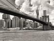 The Brooklyn Bridge and the downtown Manhattan skyline in New Yo