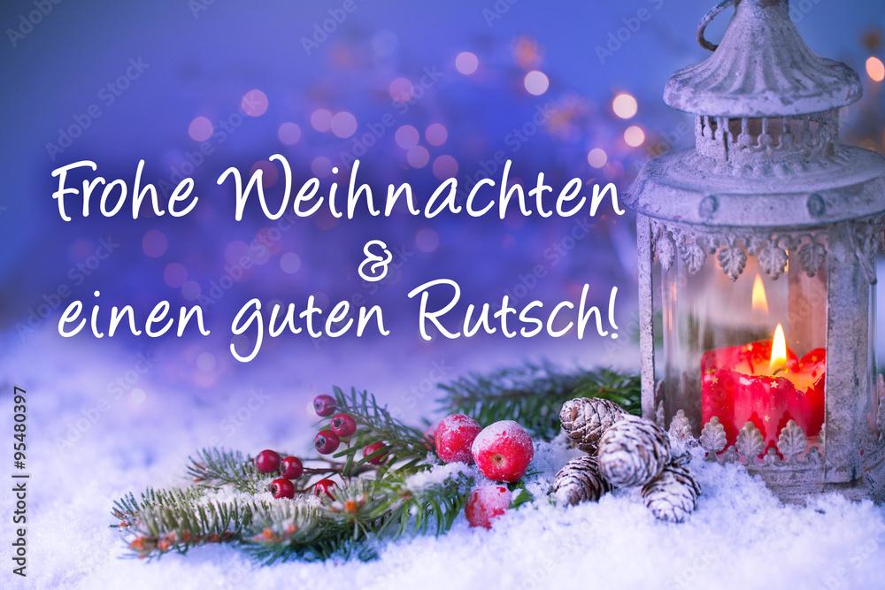 Poster Foto Weihnachtskarte Frohe Weihnachten Und Einen Guten