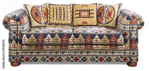 Fotografie, Obraz  Sofa Couch on white isolated with ethnic American Indian fabric