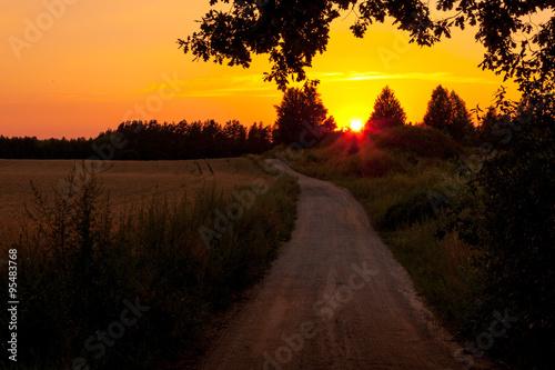 In de dag Meloen Zachód słońca na polu