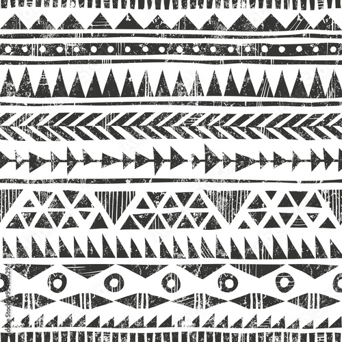Cotton fabric Vector hand drawn tribal print. Primitive geometric background in grunge style.