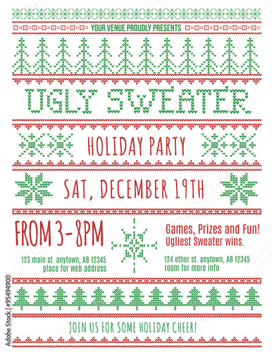 Red And Green Ugly Christmas Sweater Party Invitation Template