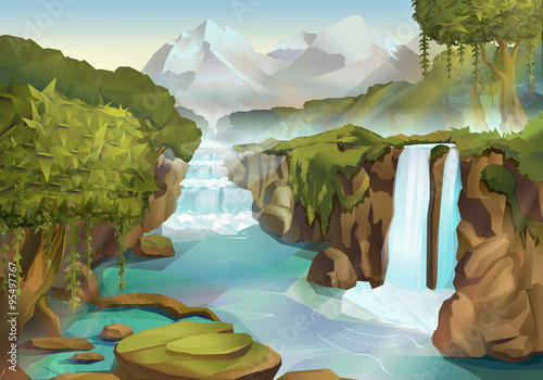 Foto op Canvas Pool Forest and waterfall, nature landscape vector background