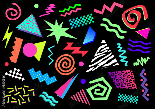 Papel de parede  Formes abstraites et couleurs fluo des années 80