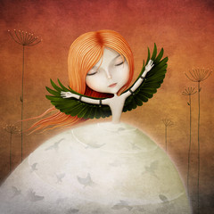 Panel Szklany Fantasy Conceptual illustration of girl with wings and birds.