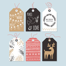 Modern Christmas Gift Tags With Hand Drawing Elements. Vector Il