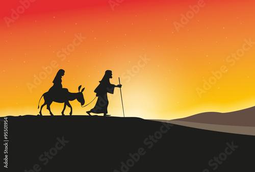 Tablou Canvas Maria und Joseph vor Sonnenaufgang