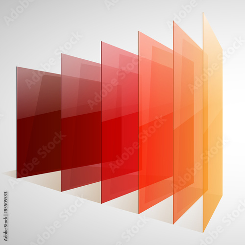 Infographics 3d perspective red, orange and yellow abstract shiny rectangles on Canvas Print