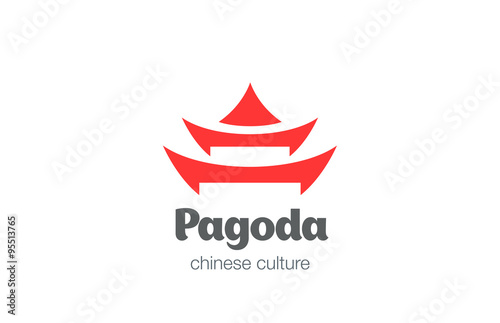 Photo Pagoda Logo design vector template. Chinese Japanese logotype