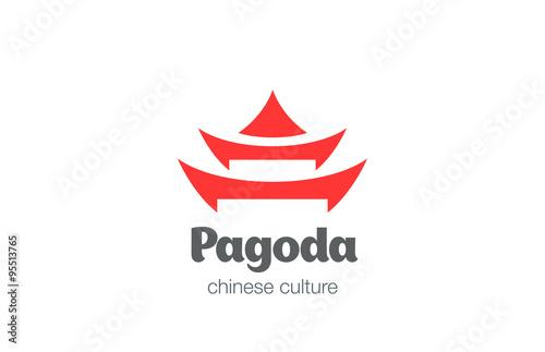Stampa su Tela Pagoda Logo design vector template. Chinese Japanese logotype